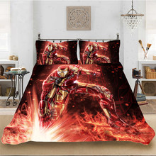 Marvel HD 3D Print Iron Man Superhero Bedding set Bedclothes Include Duvet Cover Pillowcase Print Home Textile Bed Linens(China)