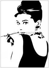 Large Size Hot Removable Bedroom Wall Stickers Audrey Hepburn With Pipe Sketch Home Decor Sticker Modern Living Room Accessories
