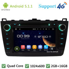 "Quad Core 8"" 1024*600 Android 5.1.1 Car DVD Video Player Radio USB FM DAB+ 3G/4G WIFI GPS Map For Mazda 6 Ruiyi Ultra 2008-2012"