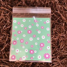 Green Daisy Flower Baby Shower Baking Food Zip Lock Cookie Self Adhesive Small Packaging Bread Package Bakery Plastic Gift Bag