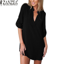 ZANZEA Oversized Summer Women Sexy Chiffon Shirt Dress Long Sleeve Loose Mini Short Dresses Vestidos Mujer de Festa Femme Robe