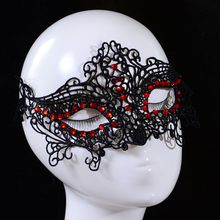 Sexy Lady Red Crystal Rhinestone Design Masquerade Party Fancy Dress Black Lace Ball Mask