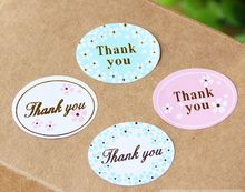 "240pcs/lot 4colors ""thank you"" sealing sticker baking package cake box decoration"