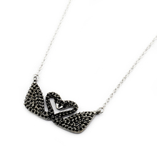 DIANSHANGKAITUOZHE Love Pendant Colar 2017 Inspirational Jewelry Grace Symbol Black CZ Double Swan Charm Choker Necklace Women(China)