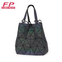 Flowers Poetry Bag Women Luminous sac baobao Bag Diamond Tote Geometry Quilted Shoulder Bags Laser Plain Folding Handbags bolso