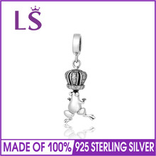 LS The Frog Prince Charm Beads Crown Fit DIY Bracelet Necklace Pendant Pendant S925 Sterling Silver Jewelry