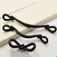 Creative black Bow tie design handle wardrobe cupboard door handles drawer knobs Furniture Hardware Woodworking Decoration(China)