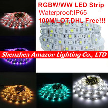 RGBW/WW 5050 LED strip Light Waterproof IP20/IP65 5M/Roll DC12V 60Leds/M 300 LEDs Flexible Bar Light strips 100M/LOT DHL Free