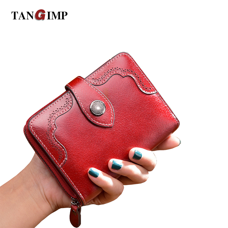 TANGIMP Vintage Genuine Real Leather Wallets Wax Women Short Coin Pocket Credit Card Female Purses Money Clip billetera mujer<br>