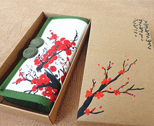 Chinese National Style Retro Women Wallet Hand-Painted White Red Plum Cotton Clutch
