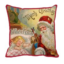 Santa gives a gift to a sleeping kid print custom christmas red chair bed cushion home decor luxury sofa throw decorative pillow(China)