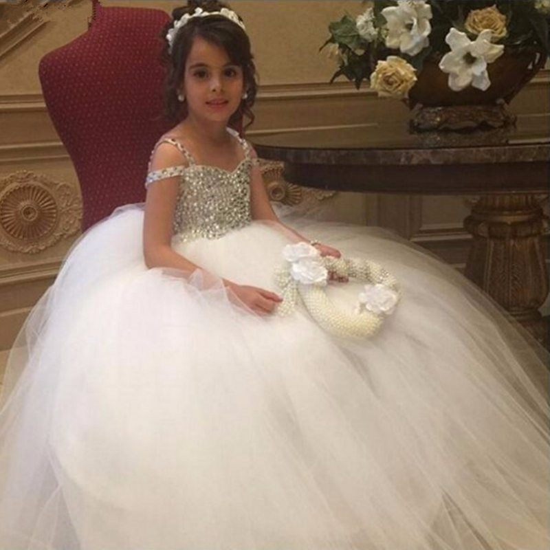 Luxury Crystal Beaded Flower Girl Dresses for Weddings Tulle Gown Flower Girls First Communion Dresses For Girls