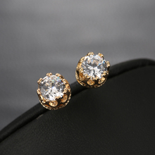 Wholesale Fashion Crown Gold  Colour   Earrings Men Women Brincos De Prata Crystal Cubic Zirconia Stud Earing Double Jewerly
