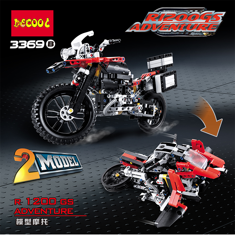 DECOO 3369 Technic Series The BAMW Off-road Motorcycles R1200 GS Building Blocks Bricks Educational Toys Lepin 20032 B10<br>