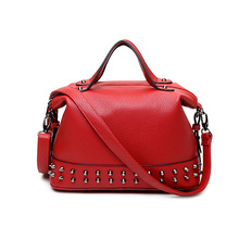 2016 fashion Rivet bags women leather handbags Christmas gift Winter leisure cnady messenger bags orange bags Factory wholesale