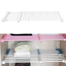 2017  Upgrade wardrobe storage rack cabinets kitchen partition nail free telescopic spacer frame Rack Adjustable Shelf Divider