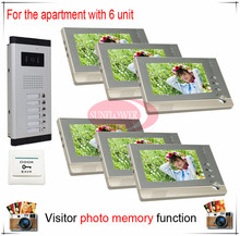Six 6 Units Apartment Building Color Video Intercom/video door phone Visitor Photo Memory ( Also support SD card photo storage)