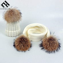 Evrfelan 2 Pieces Set Children Winter Hat Scarf For Girls Hat Real Fox Fur Pom Pom Beanies Kids Cap Knitted Winter Hat Wholesale(China)