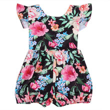 Newborn Infant Baby Girl Petal Sleeve Romper Floral Print American Style Fashion Clothes For 0-24M(China)