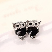 SHUANGR Brand Jewelry Crystal Owl Stud Earrings For Women Vintage Gold-Color Animal Statement Earrings Brincos Free Shipping(China)