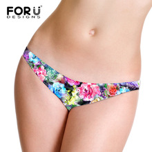 Buy FORUDESIGNS Floral G String Printed Sexy Beauty Flower Thong G-String T-Back Panty Women Lady Underwear Elagant Panties Seamless