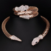 Classic Punk Jewelry Gold/Silver Plated Crystal Snake Shape Necklace Rhinestone Collar Necklace Statement For Women X1637(China)