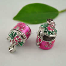 30pcs Enamel Prayer Box Charms Pendants Photo Locket in Pink Color Jewelry Making