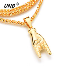 UNB NEW Gold Color Mano Cornuto Pendant Necklace Boxing Chain Rock Horned Hand Charm Necklaces Hip Hop Stars Jewelry Gift DA3009