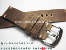 Retro Brown High Quality Handmade Straps Men's 18 19 20 21 22mm watch band Matte Leather steel buckle For MIDO IWC Tissot Seiko(China)