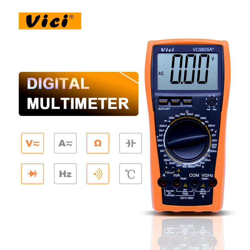 VICI VC9805A+ Digital Multimeter DMM LCR Meter w/Temperature Inductance Capacitance Frequency &amp; hFE Test<br>