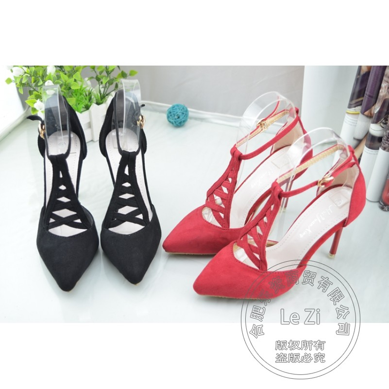 Shoes Womans T Strap Corduroy Pure Color Famous Shoe Brands Closed Toe Pu Winkle Picker Buckle Soft Leather Slim Heels<br><br>Aliexpress