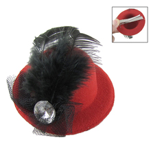 Women Rhinestone Feather Red Mini Top Hat Fascinator Hair Clip