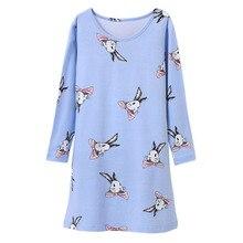 Cotton Children Nightgowns Long Sleeve Homewear Cartoon Design Princess Kids Girls Pijamas Autumn Bathrobe Clothes Pyjama Fille