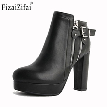 Women Real Leather Boots Autumn Winter Ankle Boots Ladies Sexy High Heeled Fashion Platforms Zipper Boots Women Shoes Size 34-40