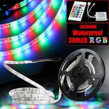 Strip Light 2835 SMD 12V Flexible Light Waterproof 5M 300LEDs RGB LED strip Decoration Lamps Changeable IR Remote Controller(China)