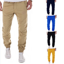 2017 Summer Slim Straight Cotton Pants Men Fashion Fit Spring New Trouser Male Pure Casual Black Long Blue Free Shipping Korean