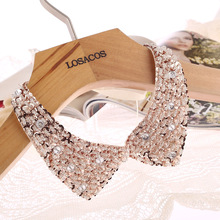 Vintage Gold Sequin beads knitted cloth  Ribbon Fake collar Choker Necklaces clothing accessories