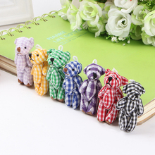 30Pcs/lot Mini Joint lovely Teddy Bear Plush Toys Chain Grid Style 4.5cm Animal For Wedding Peluches Bouquet Doll Pendant Gift
