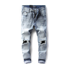 Original Dsel Brand Fashion Designer Ripped Jeans Men Straight Blue Color Printed Mens Jeans,100% Original Dsel Brand Jeans!(China)