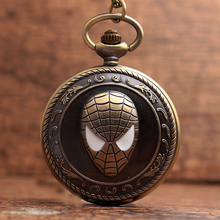 New Unique Design Pocket Watch Superhero Anime SpiderMan Theme Quartz Pocket Watch Necklace Chain For Men Children Gifts