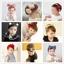 2017 kawaii flower rabbit ears baby girls kids children bow turban headband hair head band haar accessories headdress hairband