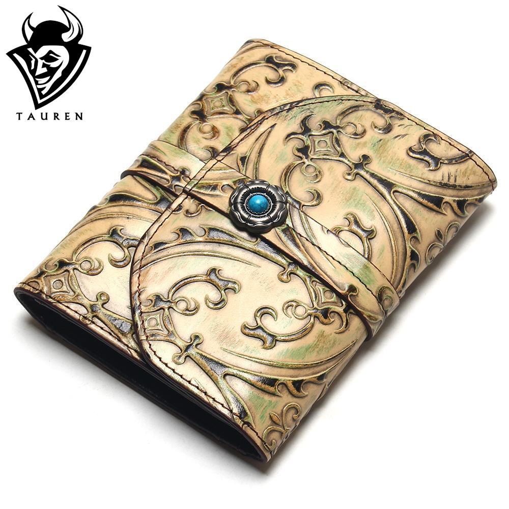 TAUREN Vintage Style Brush Color Relief Flower Pattern Genuine Leather Retro Wallet Women Around Purse Lady Wallets<br>