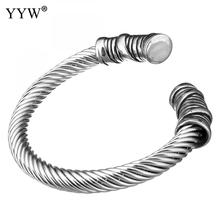 Stainless Steel Cuff Bangle Men Bracelet Silver Color Bracelet & Bangle Male Accessory Hip Hop Party Rock Jewelry(China)