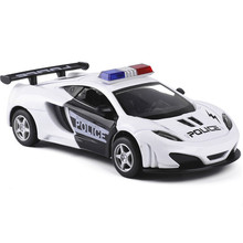 New Arrival 1:32 Kids Toys Police Car Cool Metal Toy Cars Model for Children Music Pull Back Cars Miniatures Gifts for Boys