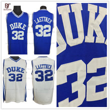 BONJEAN Duke University Throwback Basketball Jerseys #32 Christian Laettner Blue White Mens Stitched Basketball Shirts(China)