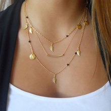 New gold silver chain beads leaves pendant necklace fashion jewelry multi layer necklaces for women Collier femme accessories(China)