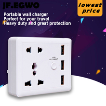 JF.EGWO USB wall socket with Switch 3 usb ports 2 AC outlets powercube European standard plug universal travel EU adaptor tomada