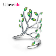 Uloveido Brass and Green Enamel Life Tree Rings for Women Resizable Ring Female Wedding Jewelry Green Ringen Gifts 5% Sale HR303(China)