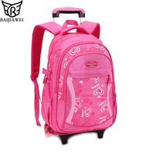 BAIJIAWEI 2017 Cartoon Design Children's School Backpacks Detachable Backpack For Girls Pretty Trolley Kids Bags Princess Style