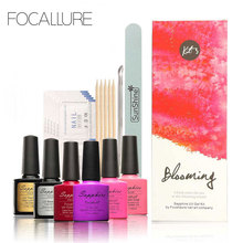 FOCALLURE 4 Colors Sapphire Soak-off UV Gel Nail Art Tools Sets Kits Nail Gel Nails Tools Nail Polish Kit(China)